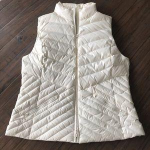 Talbots size L cream colored down vest